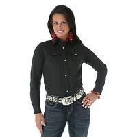 New Women's Wrangler Burnout Stripe Western Fashion Cowgirl  Shirt Black