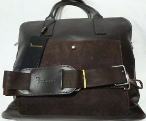 BILLIONAIRE COUTURE Leather Briefcase Bag Large Brown Made in Italy RRP€1536