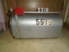 "VINTAGE 19"" RUSTIC GALVANIZED STEEL OLD FARM MAILBOX"