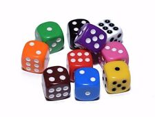 10 Red Orange Yellow Green Blue Red Opaque Dice Set 16mm 6-Sided RPG Magic D&D