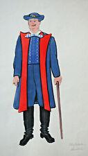 Sehr alte Original Zeichnung Tracht Nr. 1 Österreich