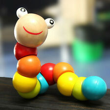 Kids Cute Wooden Toys Baby Children Flexible Jointed Todller Twisting Worm Toy