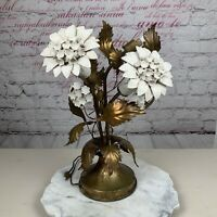 Vintage 3 Light Italian Hollywood Regency Gold Gilt Floral Tole Metal Table Lamp