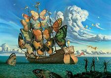 Incorniciato stampa-Salvador Dali nave con farfalla VELE (DIPINTO PICTURE POSTER)