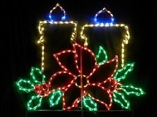 Fancy Christmas Candles with Poinsettia LED Lighted Decoration Steel Wireframe