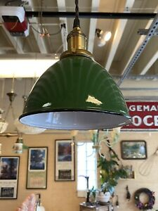 Midcentury industrial pendant with green porcelain Shade Light Lamp Fixture