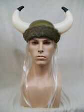 Viking Helmet Horns Fur Band Blonde Hair Norse God Hat Medieval Warrior Nordic