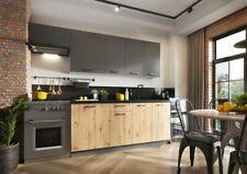 Küche Schränke Küchenzeile 180/240 cm erweiterbar Anthrazit grau Eiche Artisan