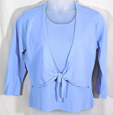 Talbots Sweater One PIece Twin Set Size XL Light Blue Tie Front 3/4 Sleeves