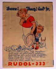 Faltblatt Werbeblatt RUDOL-333 klebt alles Leim  Alleskleber Werbung Reklame alt