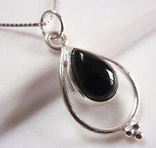 Black Onyx Pendant 925 Sterling Silver Teardrop in Hoop Silver Dot Accents New