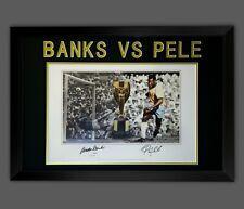 More details for gordon banks vs pele dual signed football photograph in a frame presentation