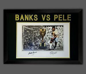 Gordon Banks Vs Pele Dual Signed Football Photograph in A Frame Presentation