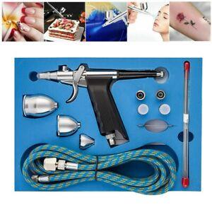 Dual Action Spray Gun Airbrush Kit Paint Tattoo Air Brush Set 2cc 5cc 13cc Cup