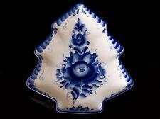 Porcelain gzhel fur tree tray salver server dish cobalt blue author's work