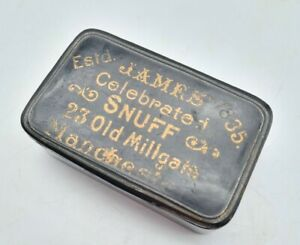 """Antique Victorian Large Advertising """"James Celebrated Snuff"""" Box - Manchester"""