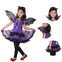 Girls Ballerina Bat Costume Halloween Fancy Dress Up Cosplay Party Outfits Kids