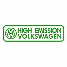 VW VOLKSWAGEN HIGH EMISSION FUNNY BUMPER DECAL PASSAT GOLF TIGUAN TOUAREG AMAROK