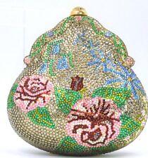 Judith Leiber Crystal Bag Evening GOLD Vintage CHATELAINE MINAUDIÈRE Floral