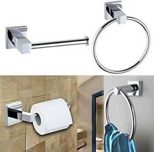 Chrome Square Bathroom Toilet Roll and Towel Holder Wall Mounted and Fixings
