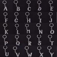 1PC Rhinestone Mini Keyring Keychain 26 Initial Letter Shape Alphabet Key Rings