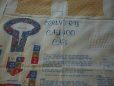 Country Calico Cat -vintage cotton printed panel for stitch & stuff cat