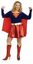 SUPERGIRL SUPERHERO ADULT LADY HALLOWEEN FANCY DRESS COSTUME - PLUS SIZE