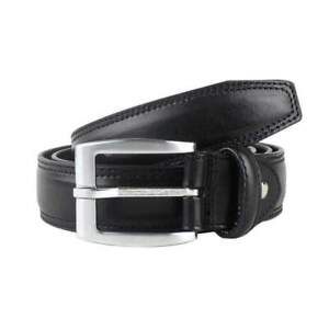 """#8390 BLACK STITCHED 1.25/"""" WIDE LEATHER BELT FOR MEN IN SIZES 2 FIT ALL UP TO 3X"""
