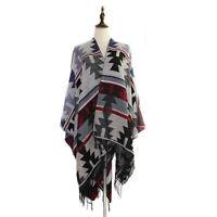 Gray Geometric Aztec Ruana Cape Shawl Wrap Scarf Coat w/ Fringe - One Size