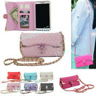 Luxury Bling Diamond PU Leather Long Chain Handbag Wallet Case Cover For Phones