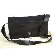 Authentic PRADA Logos Shoulder Bag Black Nylon Leather Italy Vintage BT13377