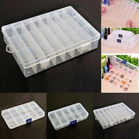 Plastic 15/10/24 Slots Adjustable Jewelry Storage Box Case Craft Organizer Beads