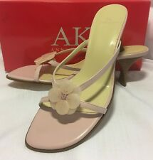 "Shoes ANNE KLEIN 3"" Kitten Heel DUSTY ROSE PINK Strappy Sandals Leather 6 1/2 M"