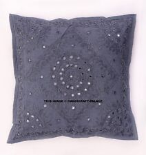 "16"" Mirror Work Embroidered Pillow Indian Vintage Handmade Cotton Cushion Cover"