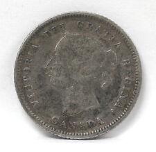 1880 H Canada 5 Cents Silver Km2 Victoria - VG #01264121g