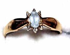 with Aquamarine Stone, Size 6 Vintage 10 Karat Yellow Gold Ring