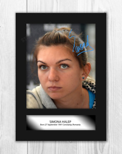 Simona Halep (3) A4 reproduction autograph photograph poster. Choice of frame.