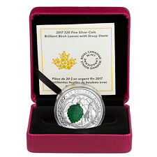 2017 Canada $20 1 oz. Proof Silver Birch Leaves W/ Drusy Stone In OGP SKU44065