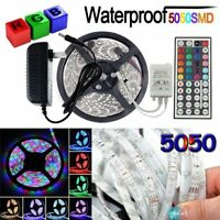 5M 5050 RGB Waterproof LED Strip Light SMD +44 Key Remote+12V Power Supply