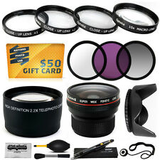 15PC Macro + Fisheye + Telephoto + Filters for Canon Powershot SX30 IS SX40 HS