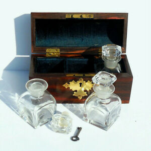 Vintage Victorian Domed Rosewood Tantalus Box with 3 Fitted Bottles & Key c1870