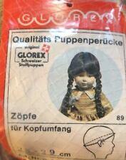 NEW Glorex 28-29cm Blonde W/ Bangs & Long Pigtail Braids Doll Wig Switzerland