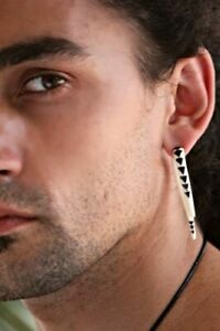 Ear Gauge Stretcher Tribal Expander Pair Carved Buffalo Horn/Bone Inlay Hook