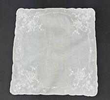 Vintage Madeira Style Bridal Wedding White Hankie Hand Embroidered Rose Flower