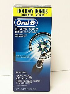 Oral-B 1000 CrossAction Electric Toothbrush w 2 Brush Heads Black Charger NEW