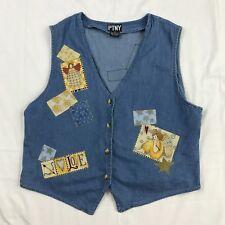PTNY Women's Light Weight Blue Denim Vest Size 2X with Decorative Patches Angels