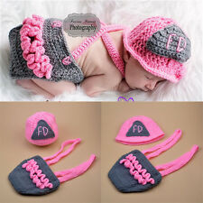 Crochet Pink Firefighter Baby Girl Photo Photography Props Knitted BABY hat