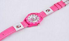 Kids Girls Hello Kitty Dark Pink Wrist Watch Analog Leather Strap UK SELLER Slim