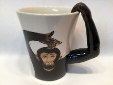 Pier 1 Large Chimpanzee Monkey Mug With Arm Handle Clean Handpainted Stoneware