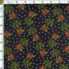 Concord Cotton Fabric ~brown Monkey palm Tree BTY